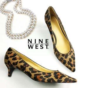 Nine West Leather Leopard Fur low Pumps Shoes 8.5M